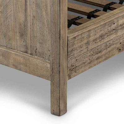 Wallace King Bed reclaimed pine in weathered ash Four Hands footboard and side rail detail