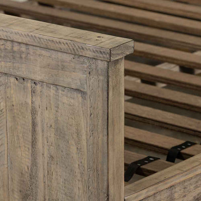 Wallace King Bed reclaimed pine in weathered ash Four Hands footboard detail