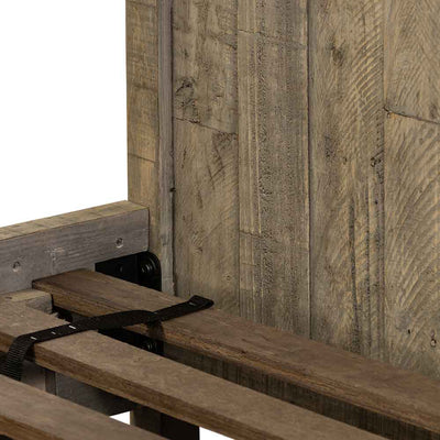 Wallace King Bed reclaimed pine in weathered ash Four Hands frame and mattress platform