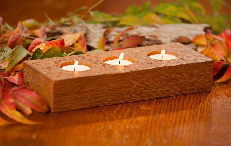 Cedar Tealight Candle Holder