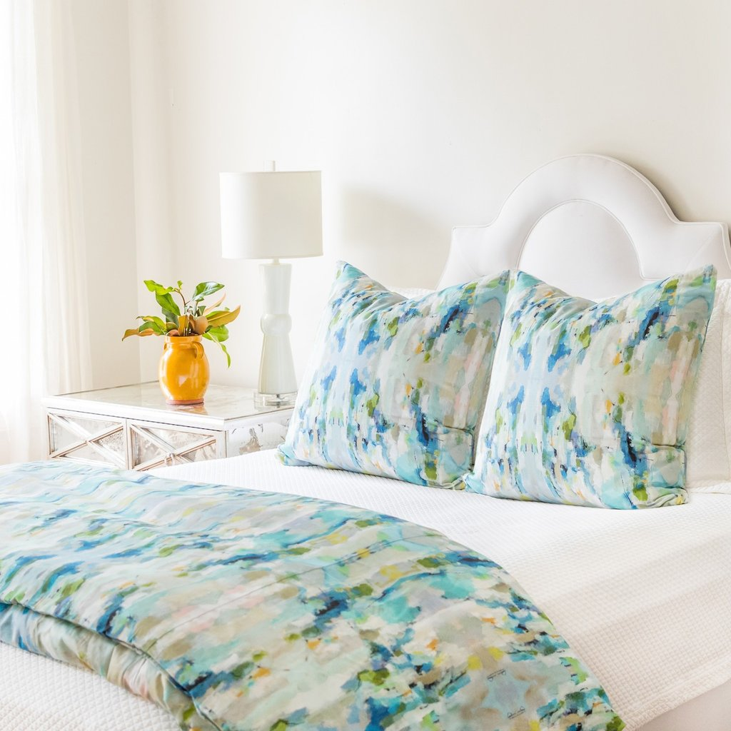 Wintergreen duvet cover in a variety of soft green shades from Laura Park Designs