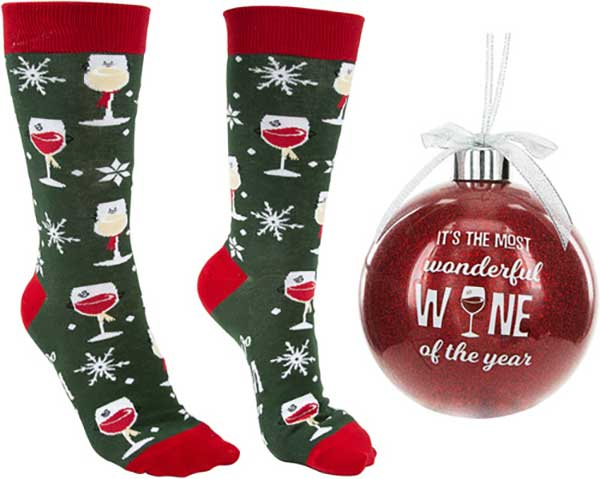 Wonderful Wine Christmas Socks and Ornament product image