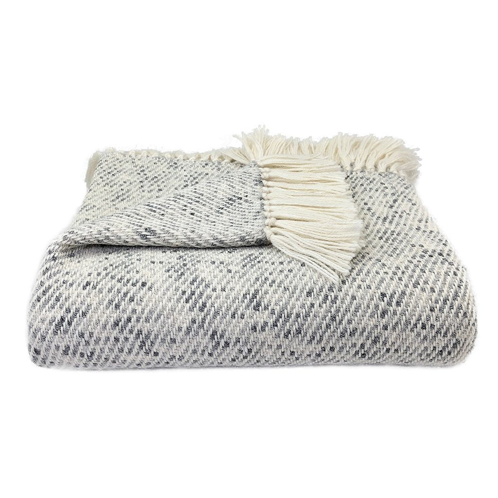 Heathered gray alpaca throw blanket perfect for cuddling