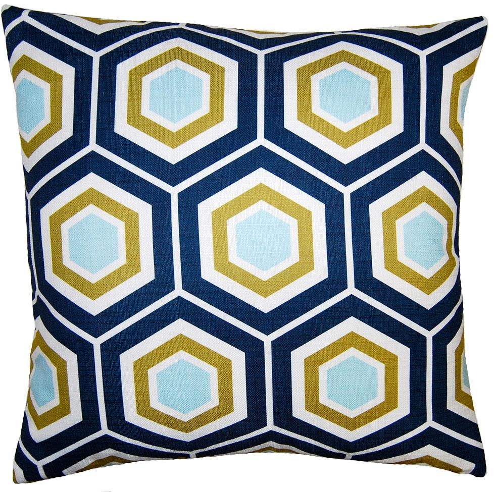 Atlantic Hex throw pillow has a multi-color heaxagonal pattern on white field from Square Feathers