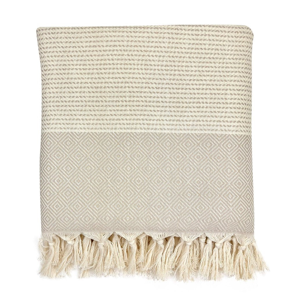 Diamond stripe Turkish throw blanket in beige, folded