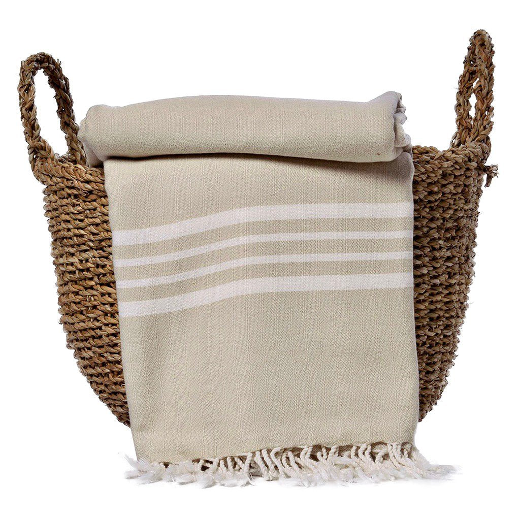Sand Nautical Stripe Turkish Throw