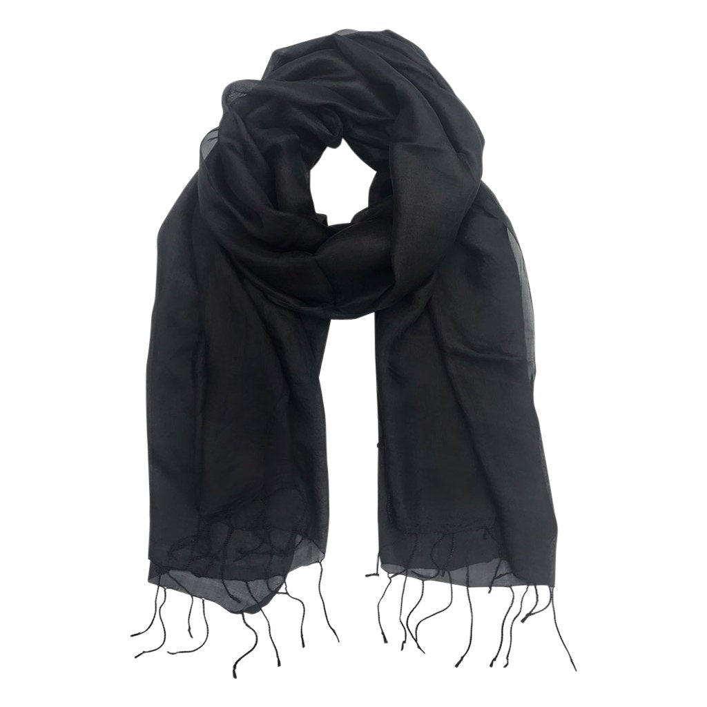 Black khmer silk scarf traditionally handloomed fashionable and lightweight