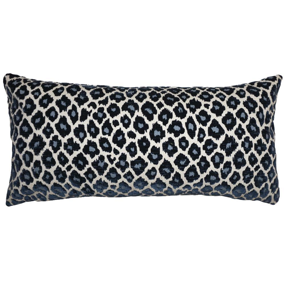Blue Cheetah throw pillow has blue cheetah spots on a silvery background from Square Feathers