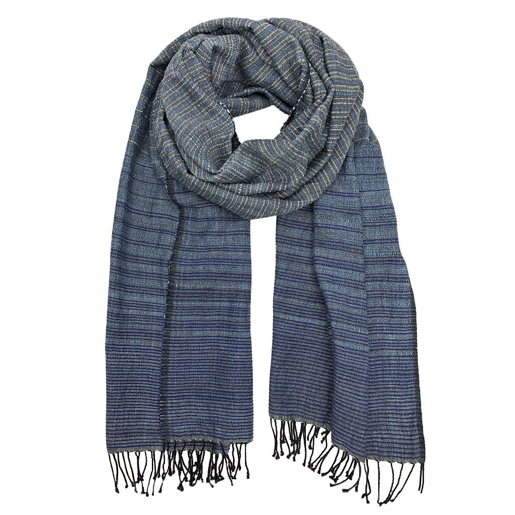Ethiopia handloom wrap scarf with varigated blues oversized