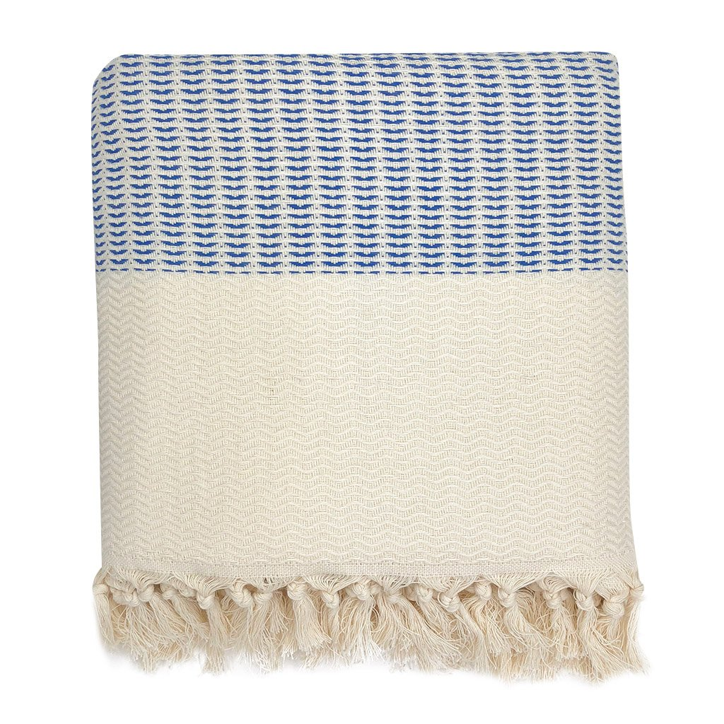 Plush wavy Turkish throw blanket blue and white