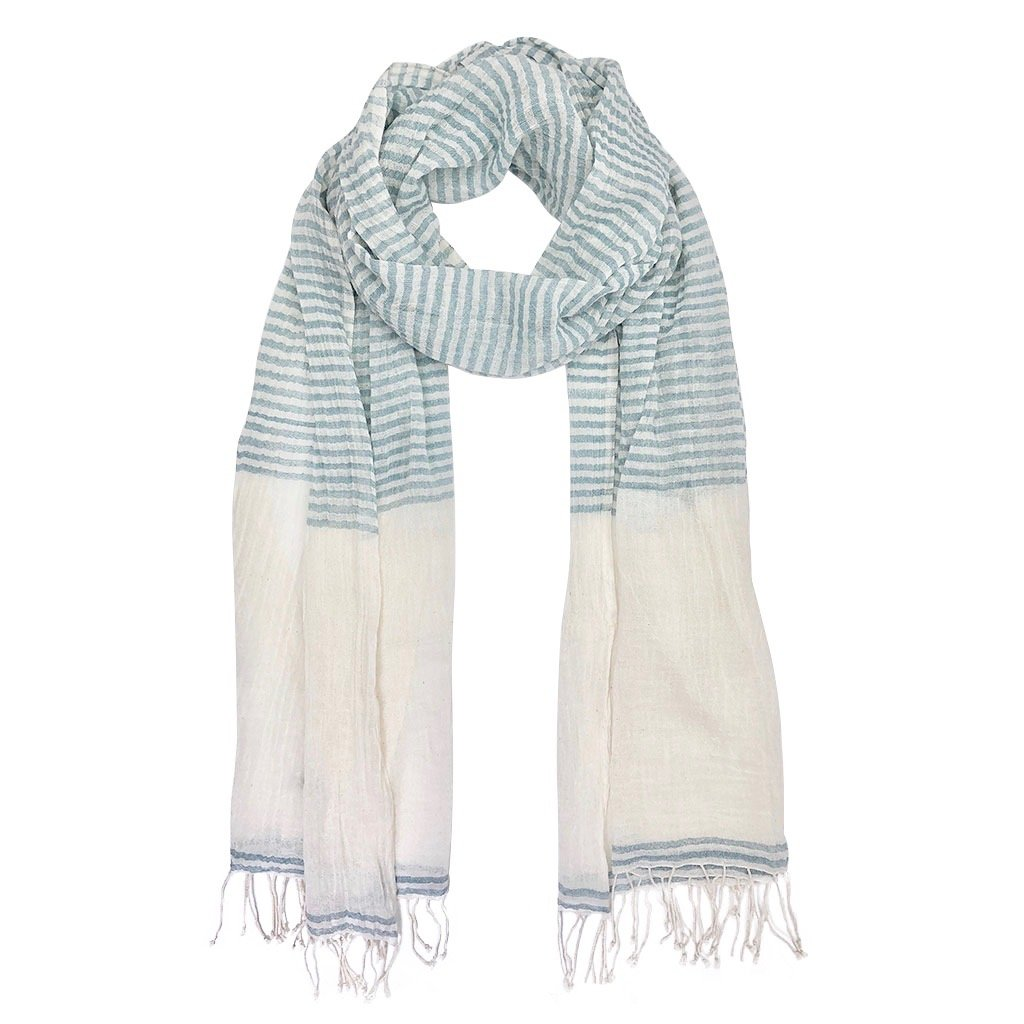 Airy cotton stripe scarf made from pure Ethiopian cotton powder blue