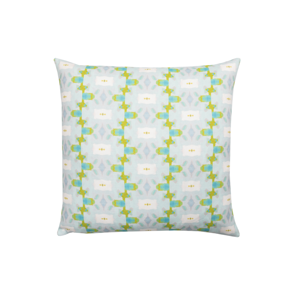 Chloe Blue Linen pillow from Laura Park Designs in light blues and greens square
