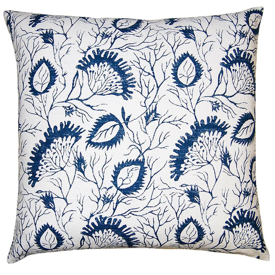 Cielo Floral has a variety of botanicals in blue on a white background from Square Feathers