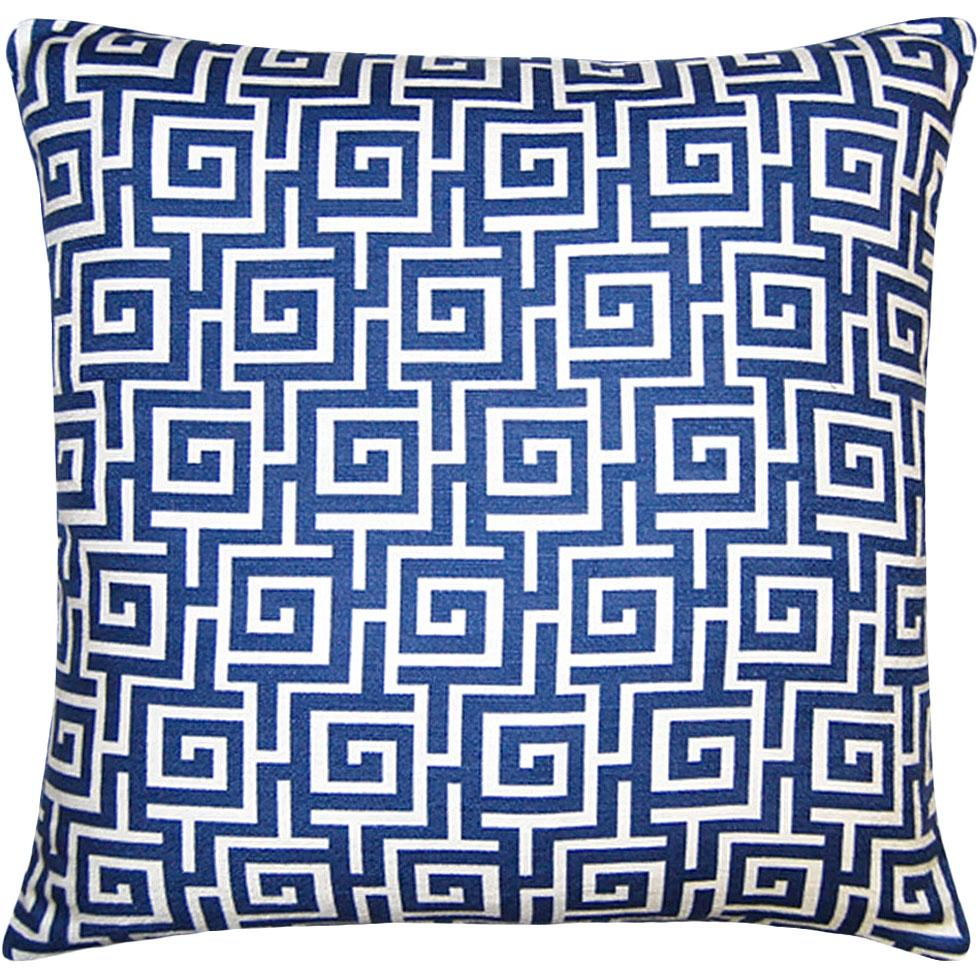 Cielo Maze has a greek key maze in vivid blue on a white background from Square Feathers