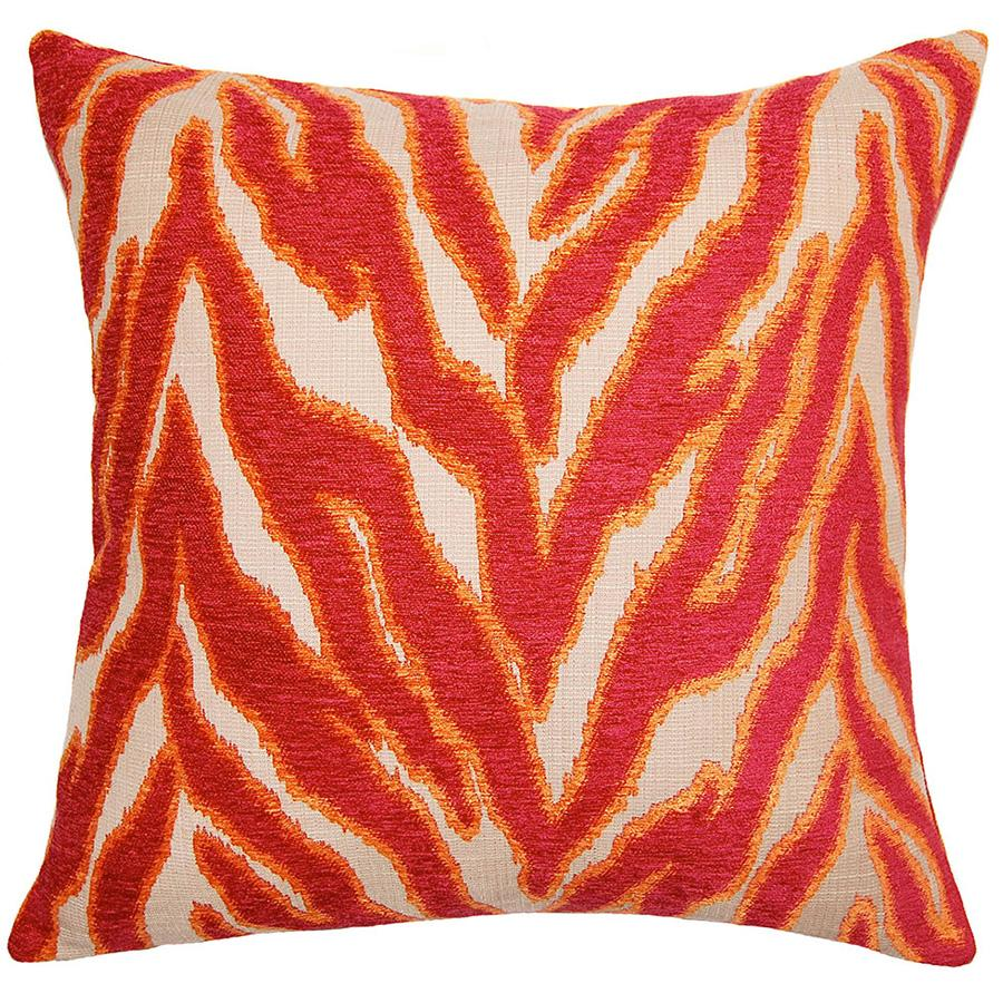 Circus Savage throw pillow adds excitement with wild cat stripes in vibrant red by Square Feathers
