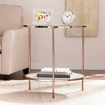 Risa End Table in metallic gold Southern Enterprises