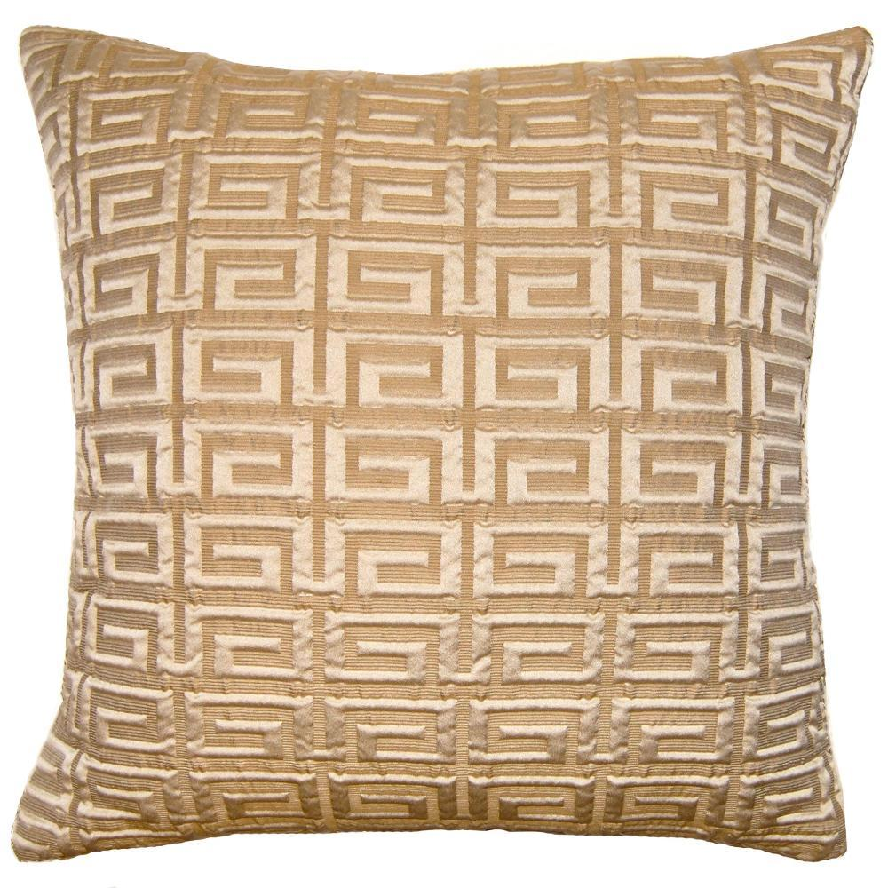 Conrad Greek Key throw pillow is a textured natural color and greek key pattern from Square Feathers