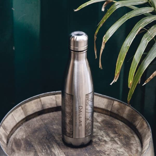 Engraved Insulated Map Bottle - Dallas