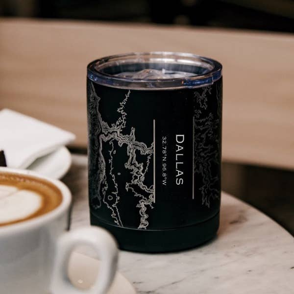 Engraved Insulated Matte Black Map Cup - Dallas