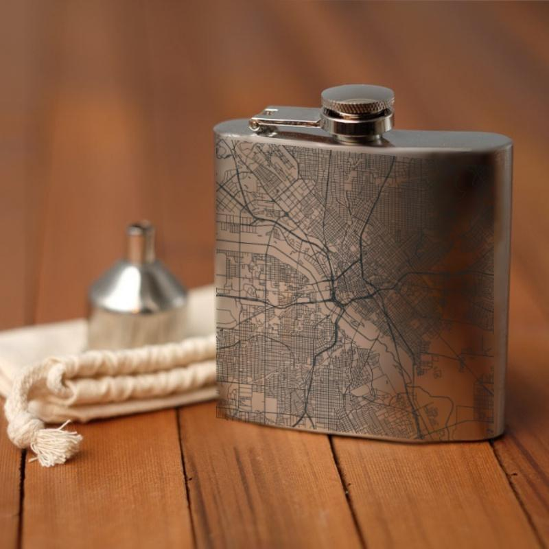 Engraved Map Hip Flask