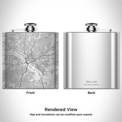 Engraved Map Hip Flask - Dallas