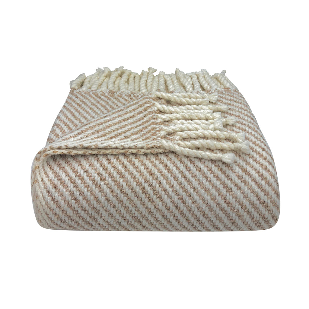 Chunky camel stripe alpaca throw blanket in beige and white fine stripes