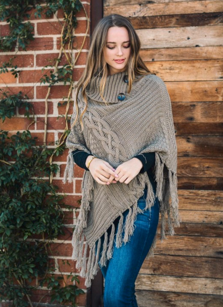 Mocha Knit Tassel Poncho with Buttons
