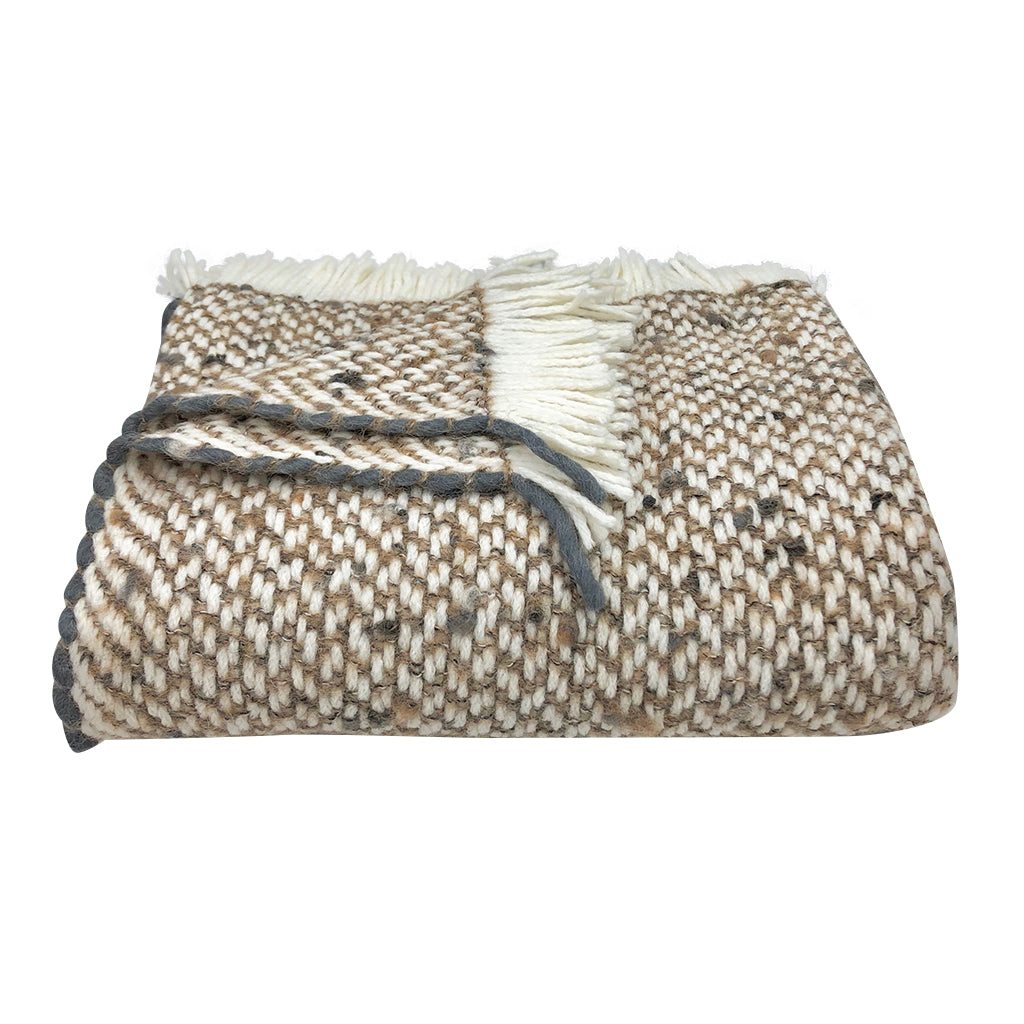 Chunky camel weave alpaca throw in snow, camel and charcoal edging, folded