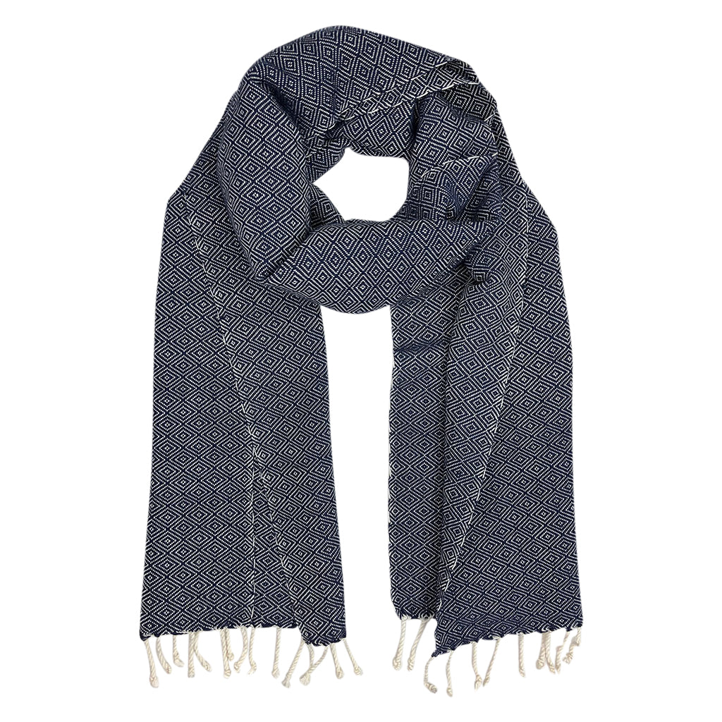 Organic cotton diamond scarf in navy handmade handknotted tassels