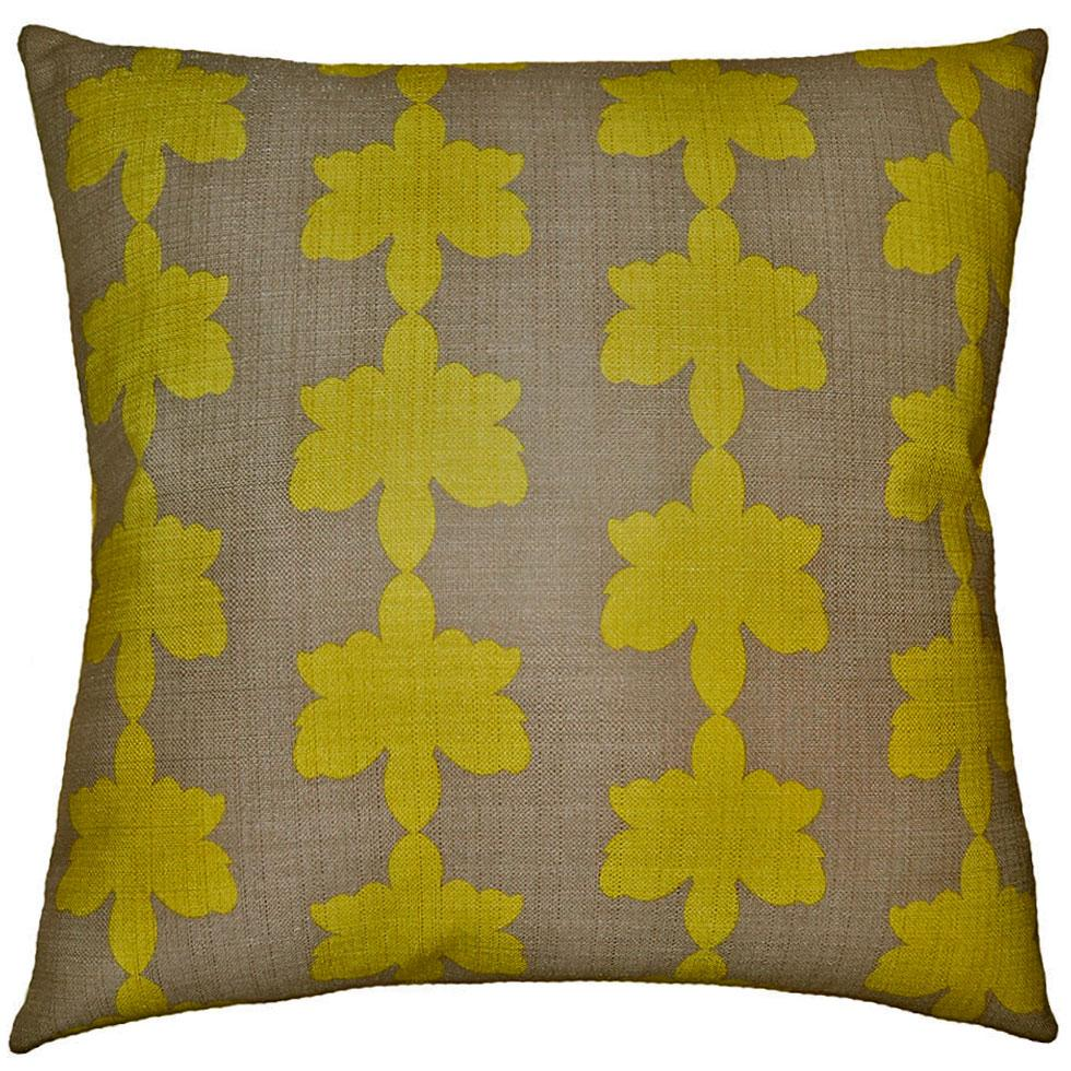 Flint Clover throw pillow adds contrast with its green clovers on a brown field from Square Feathers