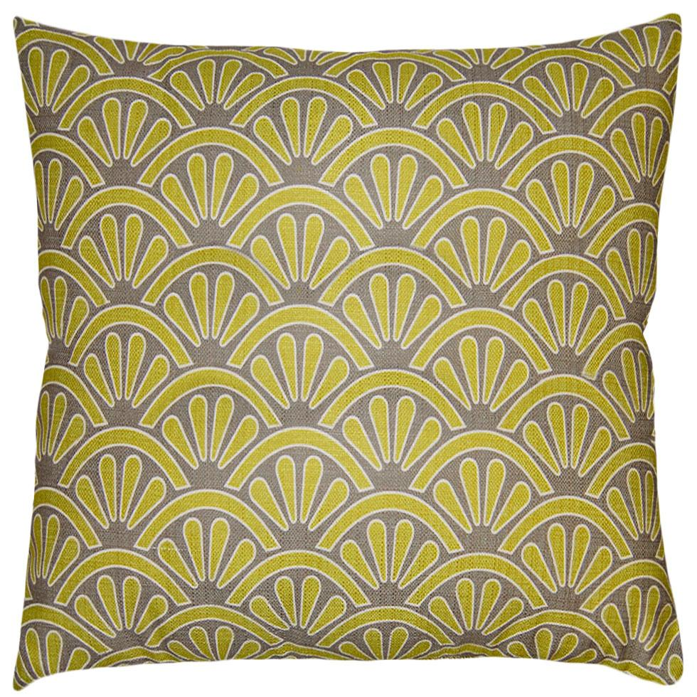 Flint Shells throw pillow adds an art-deco feel with its green shells on a brown field