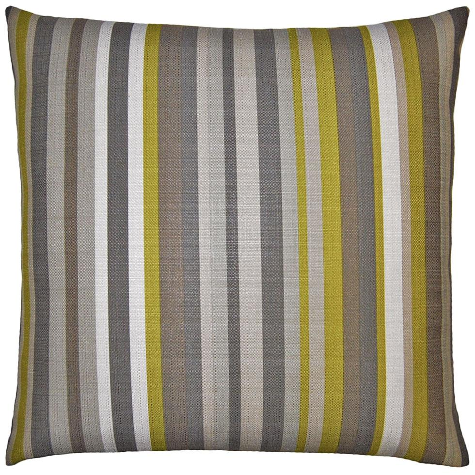 Flint Stripes throw pillow adds contrast with green stripes amidst greys and browns