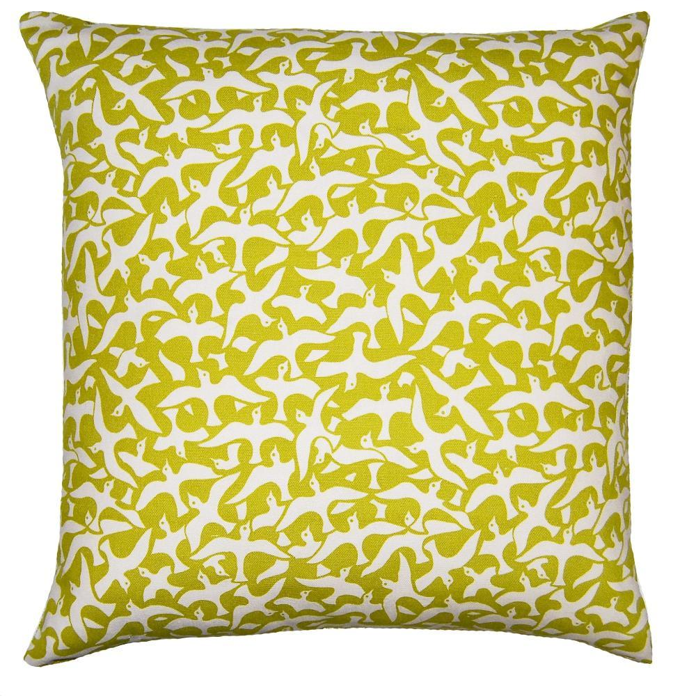 Flint Birds throw pillow adds an airy feel with a flock of birds on a green field by Square Feathers
