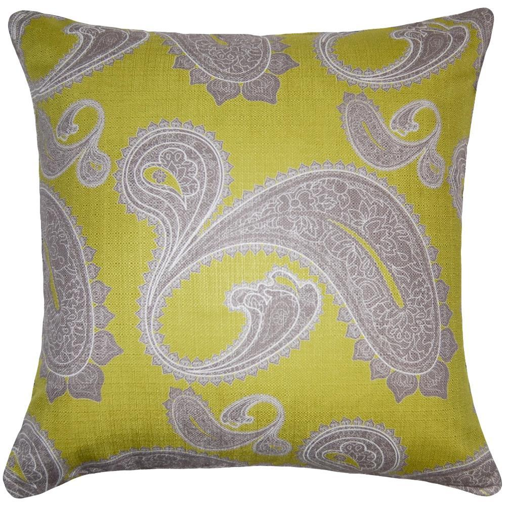 Flint Paisley throw pillow has a classic feel with a grey paisley on green field by Square Feathers