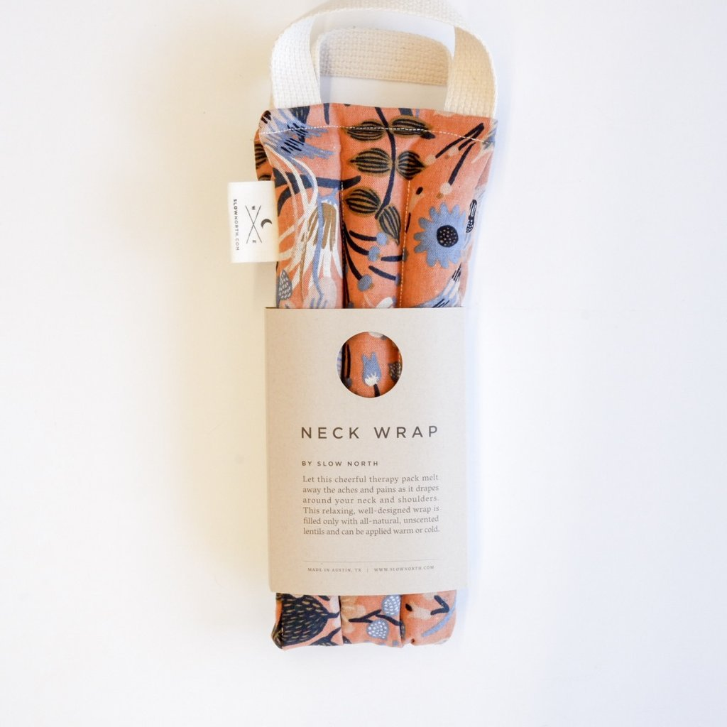 Folk Birds floral nexk wrap relieves tension from Slow North package image