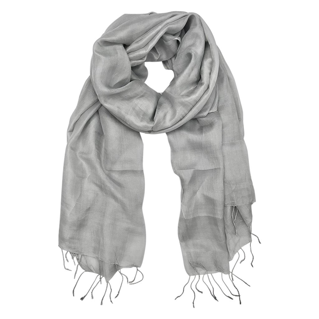 Silver moon khmer silk scarf is lightweight and never goes out of style