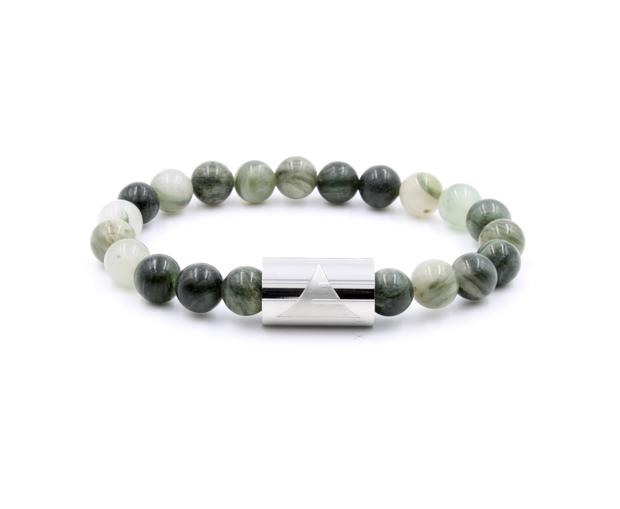 Green line jasper stone beaded bracelet with silver band from Everwood