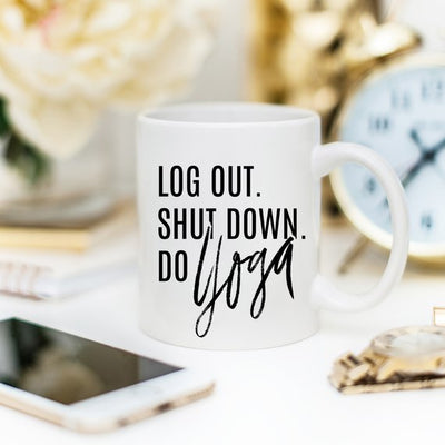 Log Out Do Yoga 15 oz. all white coffee mug HaBu Boho
