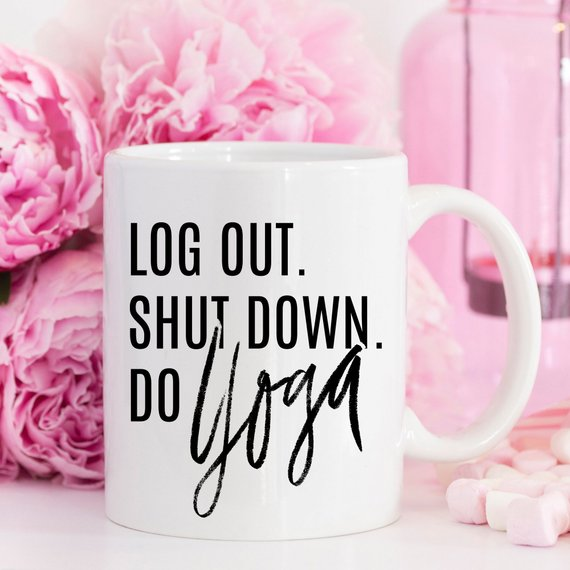 Log Out Do Yoga 11 oz. all white coffee mug HaBu Boho
