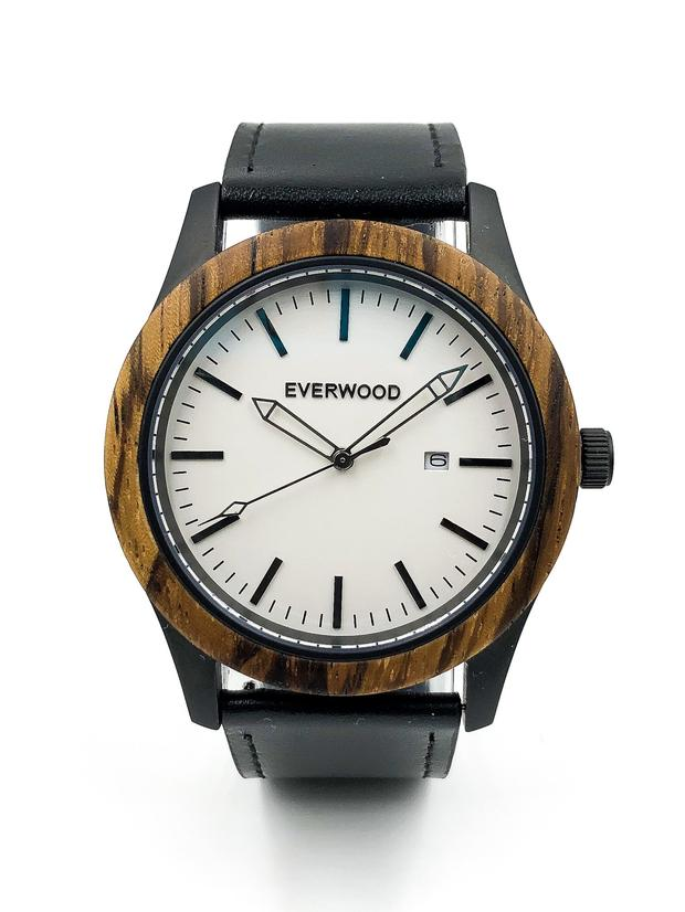 Zebrawood watch with black leather strap and white dial from Everwood