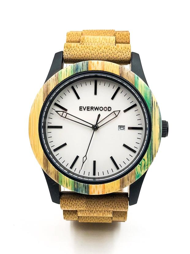Limited Edition multi-colored bamboo watch with white dial from Everwood