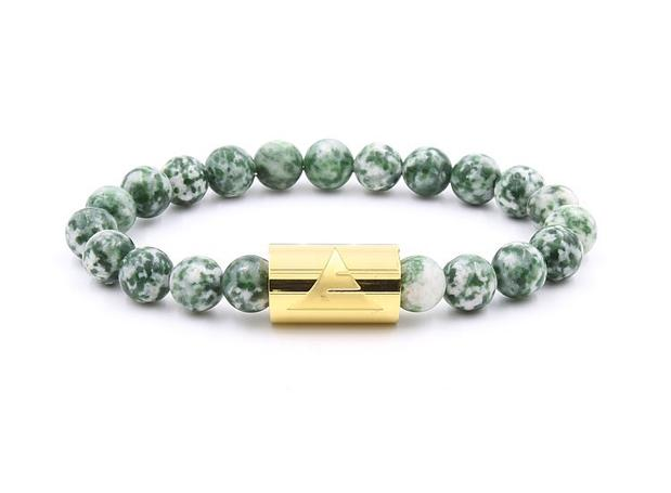 Green tree agate stone beaded bracelet with gold band from Everwood