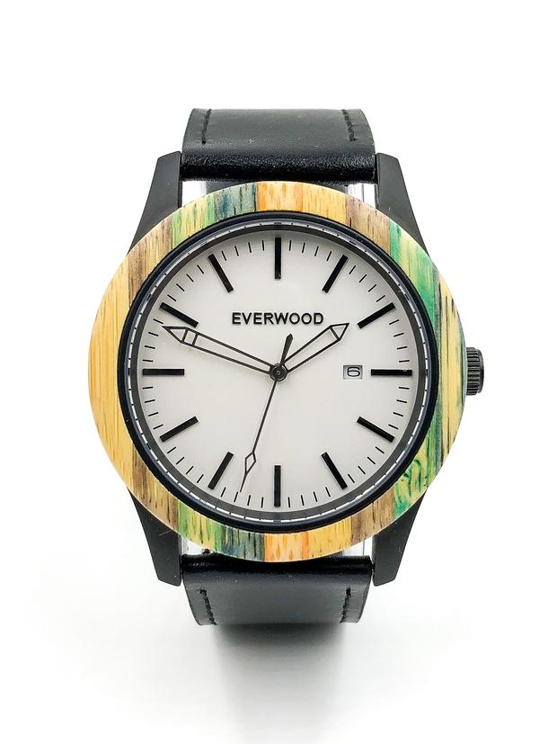 Multi bamboo watch with black leather strap and white dial from Everwood