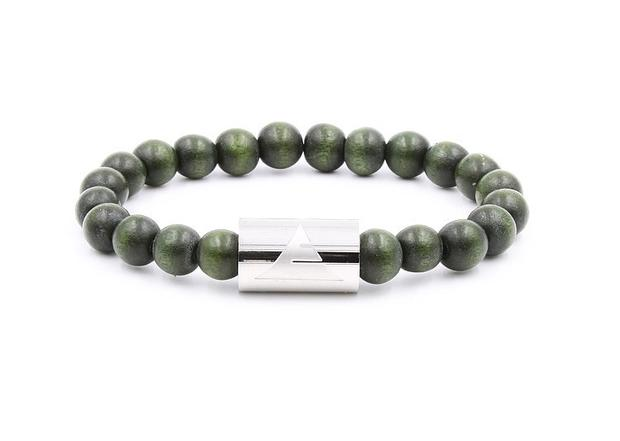 Forest Green Wood beaded bracelet with silver band from Everwood
