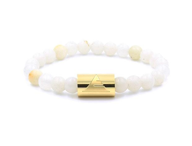 Italian onyx beaded bracelet with gold stainless steel band from Everwood