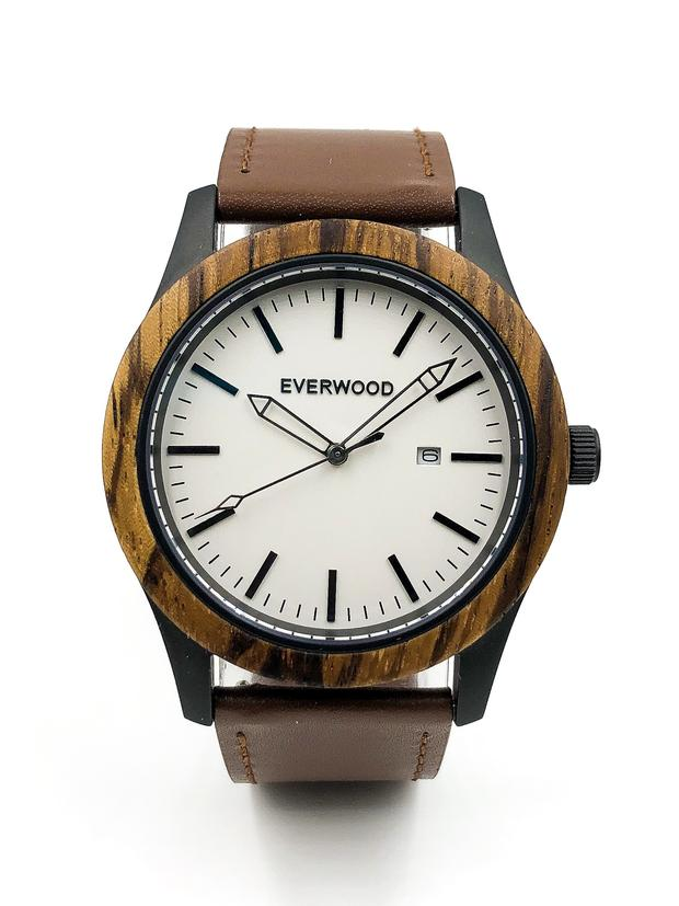 Zebrawood watch with brown leather strap and white dial from Everwood