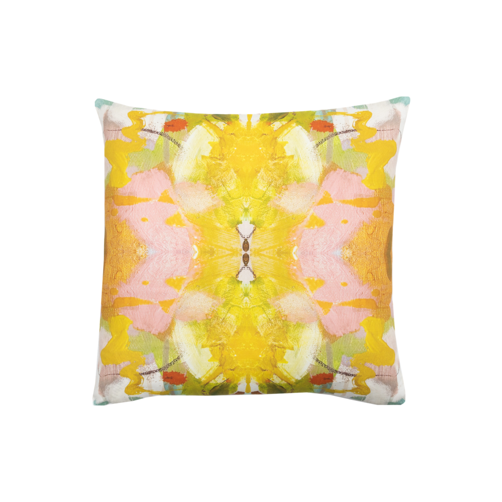 Jardin Yellow Linen Cotton Pillow