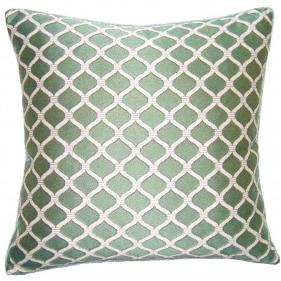 Luca Chain Wedgewood throw pillow has white chain pattern on blue-green field from Square Feathers