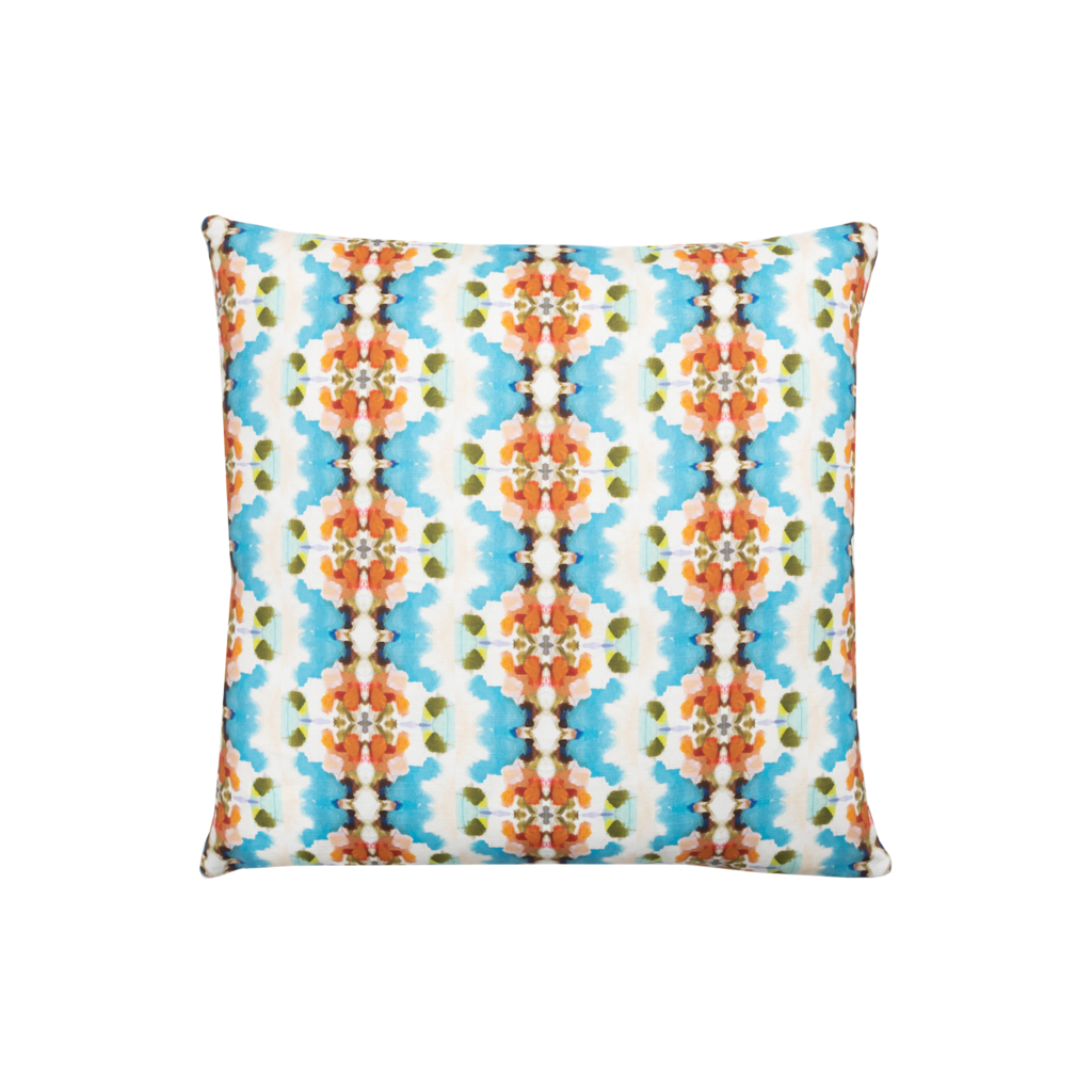 Maizy Linen Cotton Pillow from Laura Park Designs in ochre, blues and greens, square