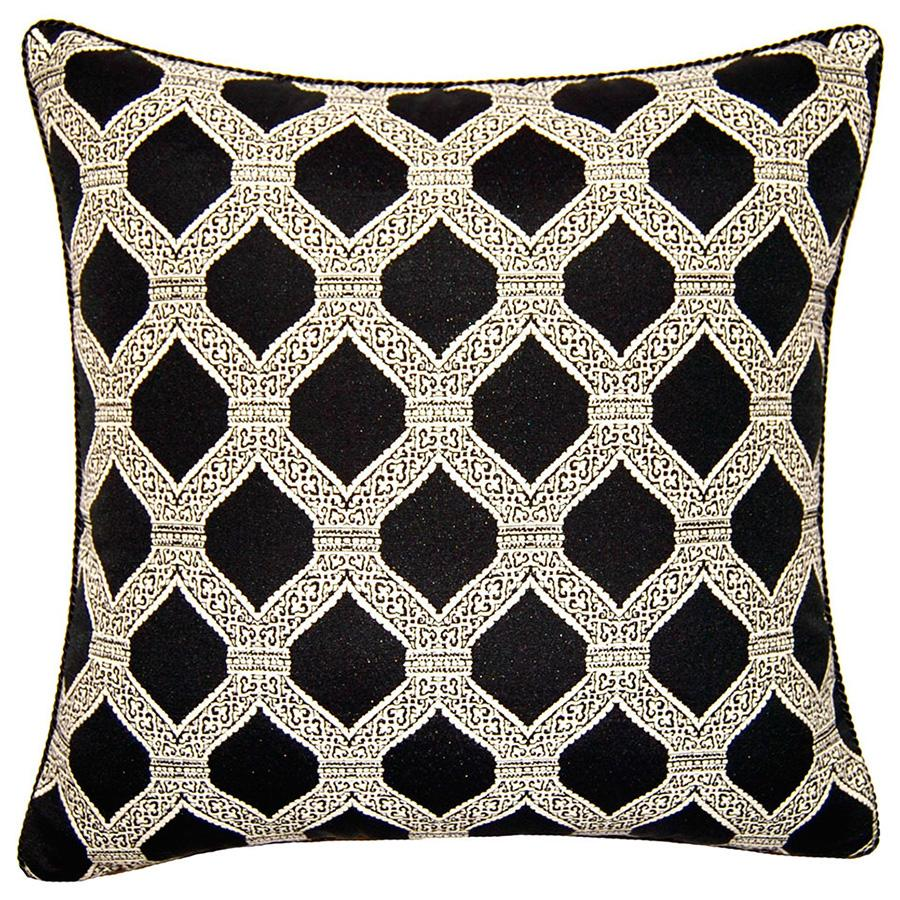 Noir Diamonds throw pillow has an intricate off-white pattern on deep black from Square Feathers